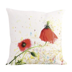 Coussin carré lin Coquelicot