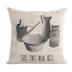 Coussin carré Zinc Typo