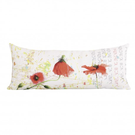 Rectangular linen cushion Poppy