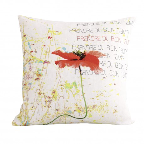 Linen square cushion Poppy