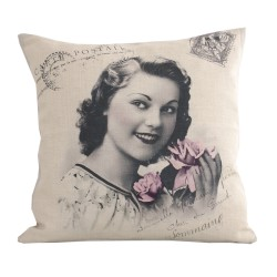 Linen square cushion Romantique