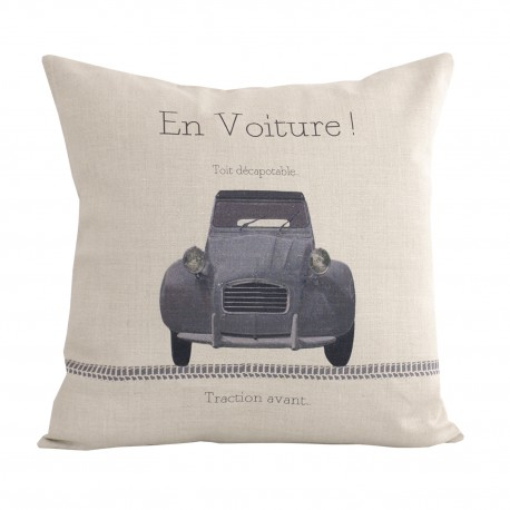 Linen square cushion 2 CV Traction