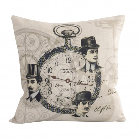 Linen square cushion Gentleman Montre