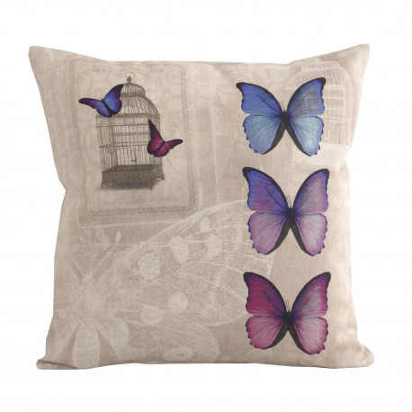 Linen square cushion Harmonies Butterfly