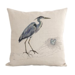 Linen square cushion Aigrette Nid