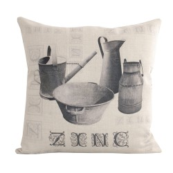 Linen square cushion Zinc Typo