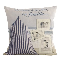 Linen square cushion Plage